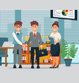 meeting business people characters in office vector image
