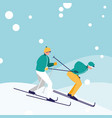 men practicing skiing on ice avatar character vector image