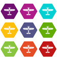 military plane icons set 9 vector image vector image