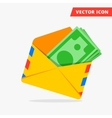Money in post envelope flat icon vector image vector image