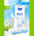 natural milk advertising poster vector image vector image