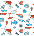 ocean animals underwater sketch monochrome fish vector image vector image