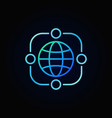 outsourcing blue line icon made with earth vector image vector image