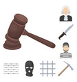 prison and the criminalcartoon icons in set vector image vector image