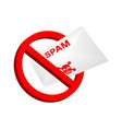 red prohibition sign spam email envelope inside vector image vector image