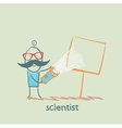 scientist shines a flashlight on a poster vector image vector image