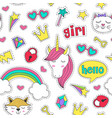 seamless pattern with stickers for girl vector image