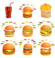 set burger grilled beef vegetables dressed vector image