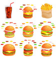 set of burger grilled beef vegetables dressed with vector image vector image