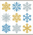set of color glittering snowflakes over white vector image vector image