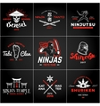 Set of Japan Ninjas Logo Katana weapon insignia vector image