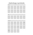 set of monochrome icons with astrology symbols vector image