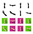 sign language blackflet icons in set collection vector image
