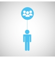 silhouette man group social network design vector image vector image