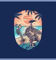 skull summer beach graphic design vector image vector image