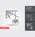 spider web and line icon with editable vector image vector image