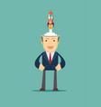 successful businessman with rocket ship launching vector image vector image