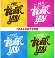 thank you followers set banners for social vector image vector image