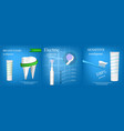 toothbrush banner concept set realistic style vector image vector image