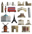 Travel landmark flat icons set vector image vector image