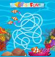 underwater fish maze game template vector image