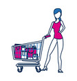 woman with shopping cart paper bag gift vector image