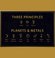 alchemical golden symbols set on dark background vector image