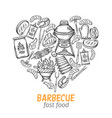 barbecue hand drawn banner vector image vector image