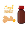 bottle with cough remedy with curcuma vector image vector image