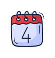 calendar icon with number july 4 is vector image vector image