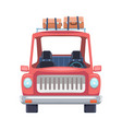 car travel cartoon flat design with luggage on top vector image