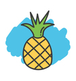 Cartoon doodle pineapple vector image