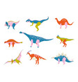 collection of colorful dinosaurs brontosaurus vector image