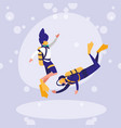 couple practicing diving avatar character vector image vector image