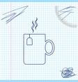 cup tea with tea bag line sketch icon isolated vector image vector image