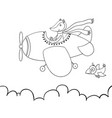 cute cartoon fox flying on airplane awesome vector image vector image