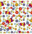 cute hippie seamless pattern design with flowers vector image