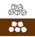 five sugar or ice cubes icons number sugar vector image