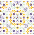 floral quilt leaf folk pattern yellow vector image