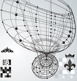 Geometric abstract 3D complicated lattice backdrop vector image