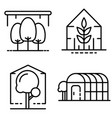 greenhouse icons set outline style vector image vector image
