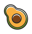 half of fresh organic avocado isolated cartoon vector image