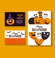 happy halloween set cards vector image vector image