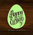 Inscription happy Easter on the wooden background vector image vector image