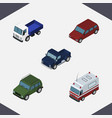 isometric car set of lorry armored first-aid and vector image vector image