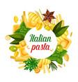 italian pasta poster with seasonings vector image vector image