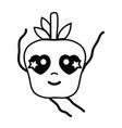 line kawaii cute happy apple fruit vector image