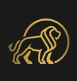 lion logo emblem on a dark background vector image vector image