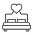 lovers bed line icon love and sleep double bed vector image vector image