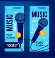 music concert ticket template with microphone vector image